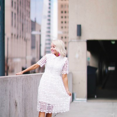 Alena Gidenko of modaprints.com styles a white lace collard dress with pink pointy heels for Spring