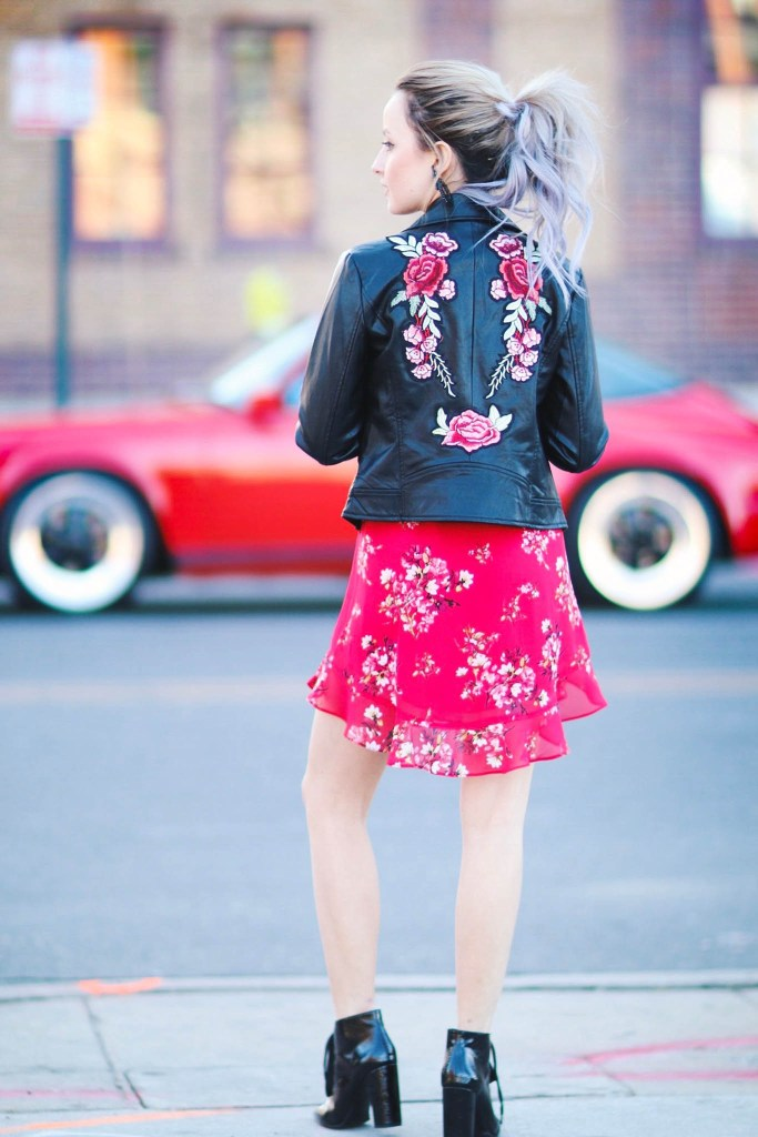 Alena Gidenko of modapcrits.com styles a red floral dress with a black faux leather floral jacket