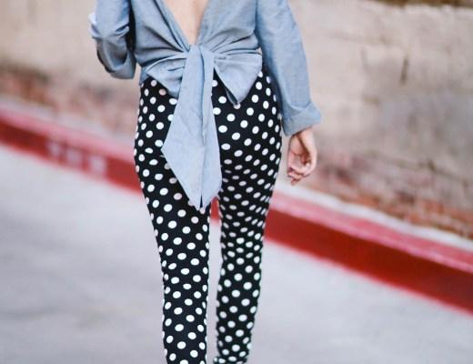 Alena Gidenko of modaprints.com styles polka dot leggings with and open back bow top