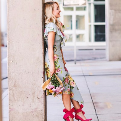 Alena Gidenko of modaprints.com styles a floral dress from ASOS