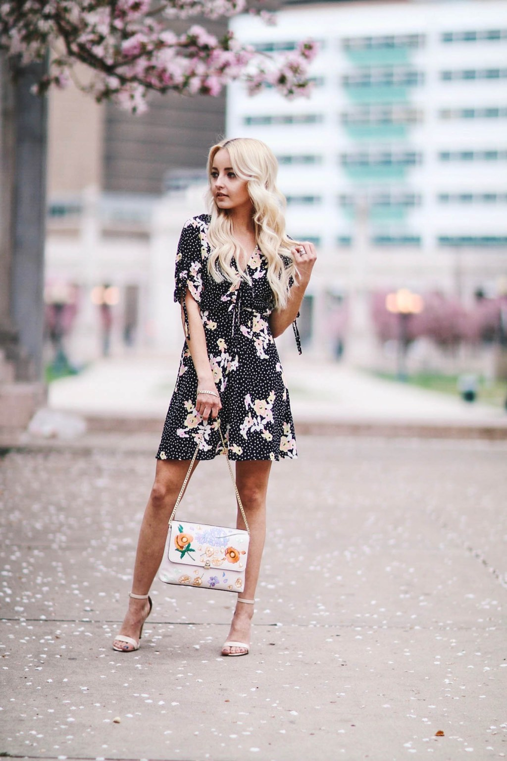 Alena Gidenko of modaprints.com styles a floral TopShop dress for Spring