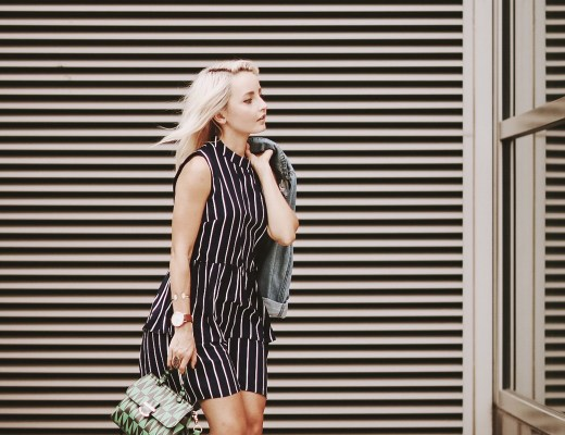 Alena Gidenko of modaprints.com shares tips of styling a striped ModCloth dress for Fall