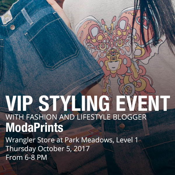 Alena Gidenko of modaprints.com styles the new Peter Max collection at Wrangler