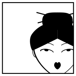 Modarium illustratie van een kopje van een geisha in een ruimte voor de grafisch vormgever