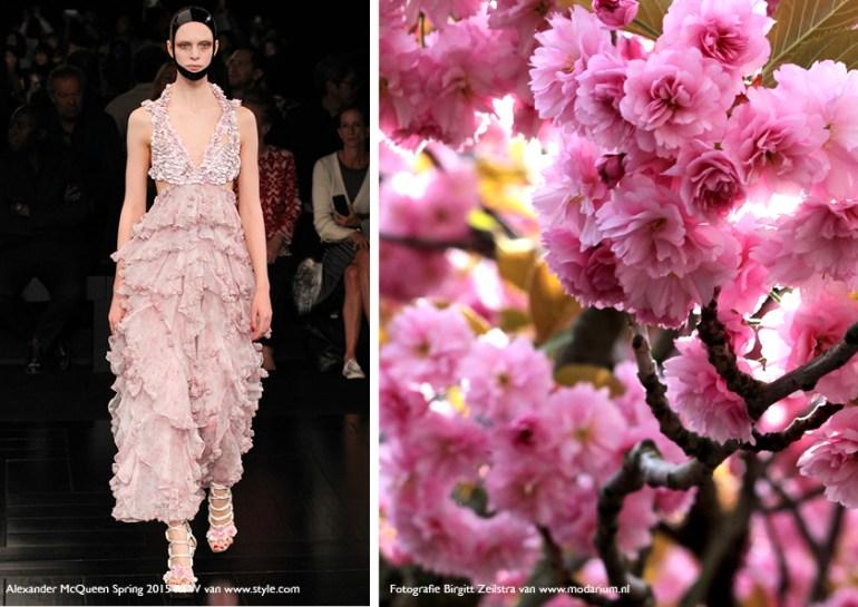 Modarium Think Pink moodboard 01 met een afbeelding uit de Spring 2015 collectie van Alexander McQueen en roze bloesem