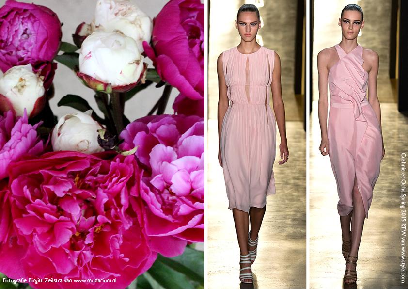 Modarium Think Pink moodboard 05 met afbeeldingen uit de spring 2015 RTW collectie van Cushnie et Ochs en roze pioenrozen