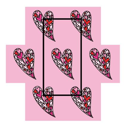 Modarium afbeelding van rapport van een dessin in half verzet baksteen met een illustratie van gespiegelde harten