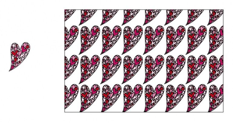 een dessin in recht verzet van harten