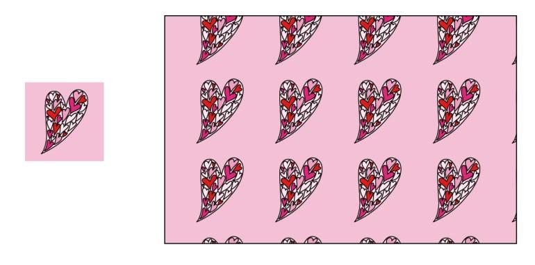 een dessin in recht verzet van harten met wit