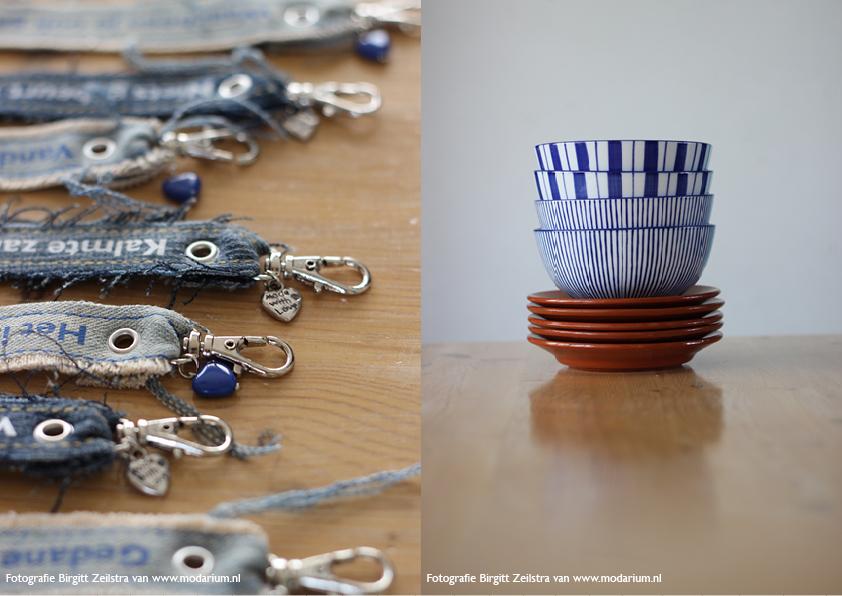 afbeelding Modarium moodboard Big Blue 02 Denim Chinees aardewerk en Modiste armbandjes