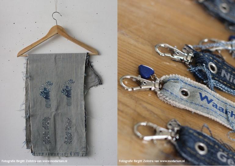 afbeelding Modarium Big Blue Denim moodboard 12 oude spijkerbroek met door Modiste ontwerpen en vervaardigde collage berdukking