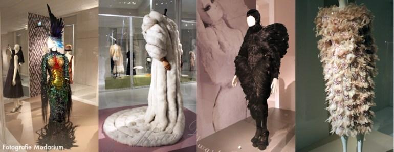 Modarium collage van beelden van de tentoonstelling Birds of Parardise | Pluimen & veren in de mode 05