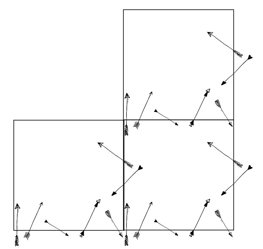MODARIUM onregelmatig strooimotief pijlen tussenfase