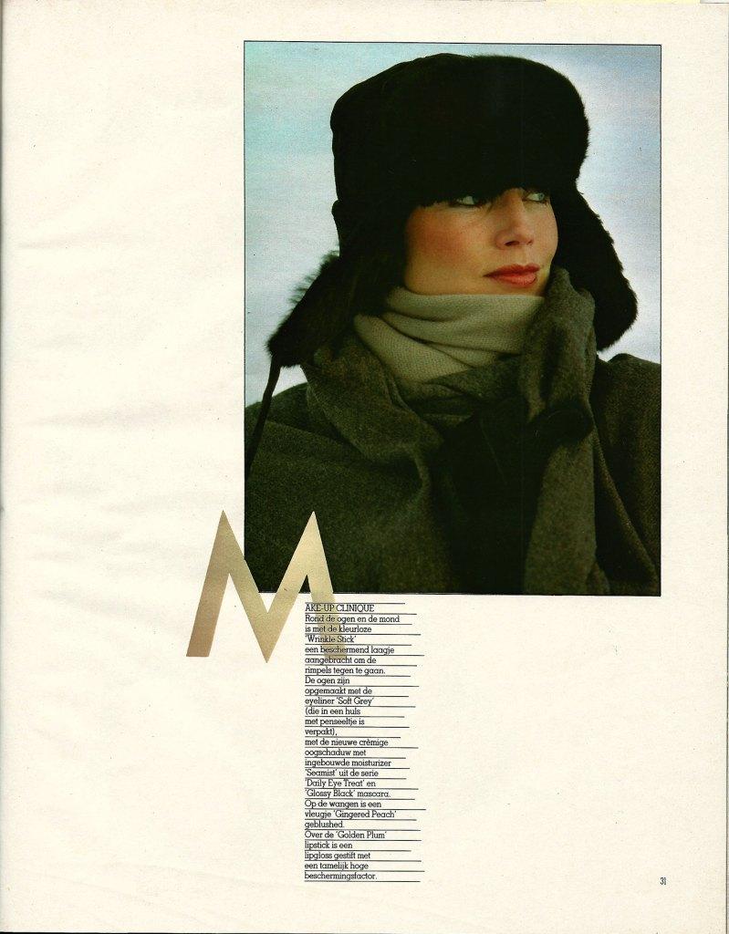 Fotografie door Kai Lindholm in 1982 oktober Avenue België Avontuur in Lapland pagina 24 met een schitterend sneeuwlandschap als achtergrond voor de wintermode met wol en bont