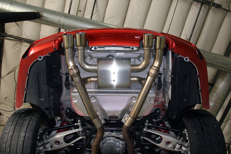 Dinan BMW f8x m3 m4 Free Flow Stainless Exhaust polished under car