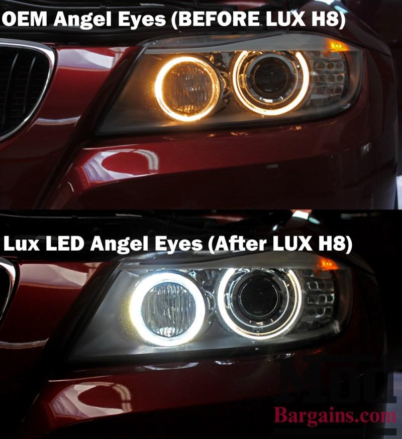 LUX H8 V5 Color Adjustable Angel Eyes for BMW Before/After