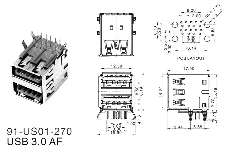 USB 3.0 Dual Type-A 9-Pin Female Connector AF for PCB