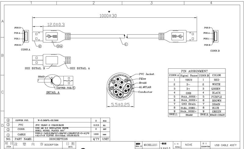 Aldl To Usb Wiring Diagram 4 8gbps Superspeed Usb 3 0 Cable Wire Ul2725 Black