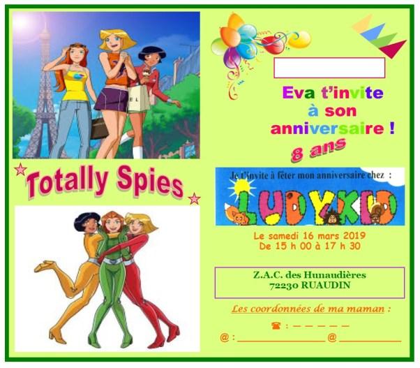 Invitation anniversaire Eva 2019 A - 8 ans