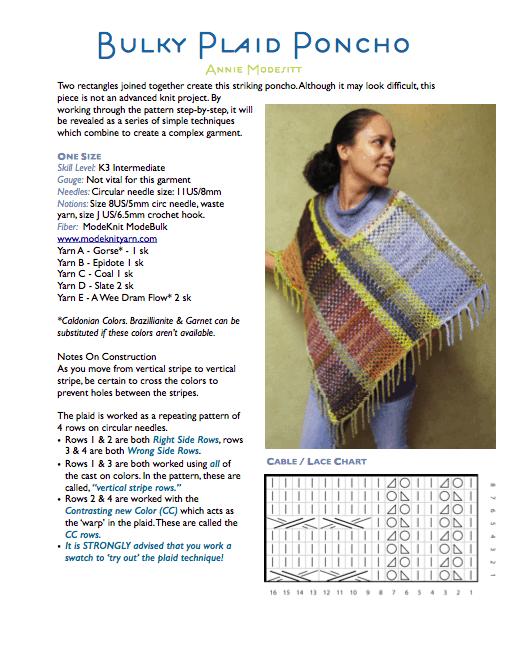 Bulky Plaid Poncho Pattern Modeknit Yarn