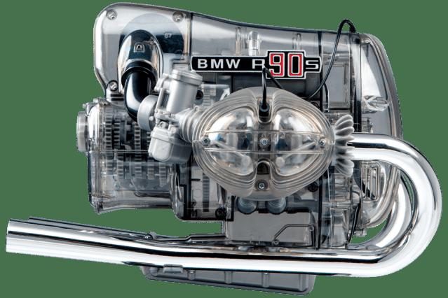 BMW R90s motorblok op schaal