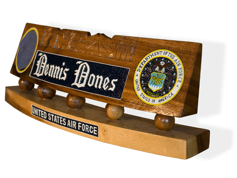 Military Desk Name Stand Tail Shields  Flashes Plaques
