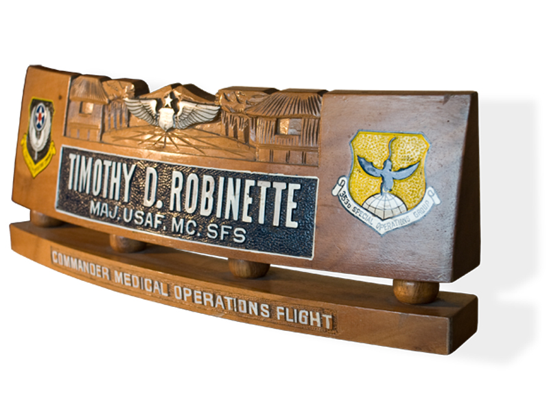 Military Desk Name Stand 1 Tail Shields  Flashes Plaques