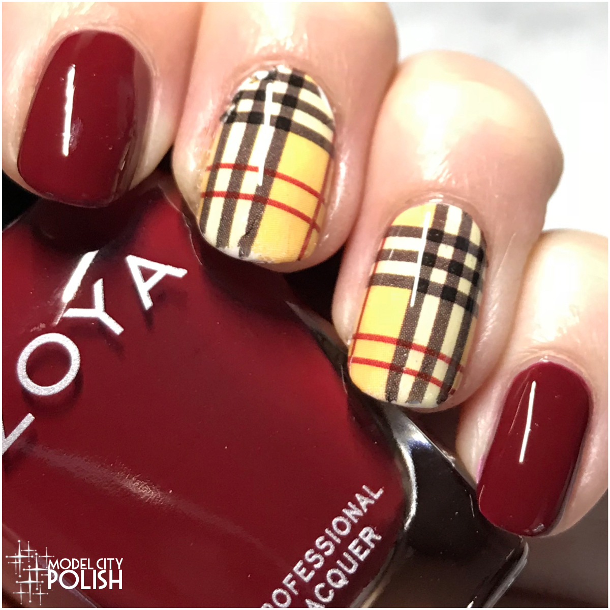 plaid nails fall with zoya