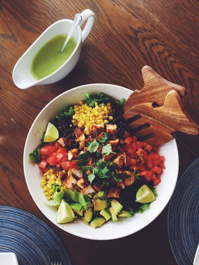 Mexican Chipotle Chicken Salad with Skinny Cilantro Dressing