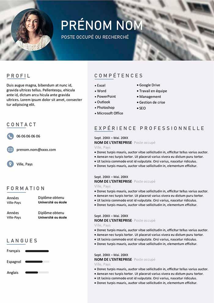 CV Design Gratuit  Tlcharger  Modles CV Word