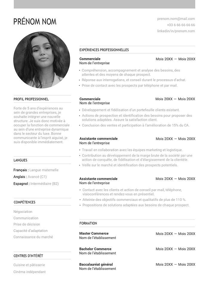 Exemple De CV Commercial Gratuit à Télécharger Modèle CV