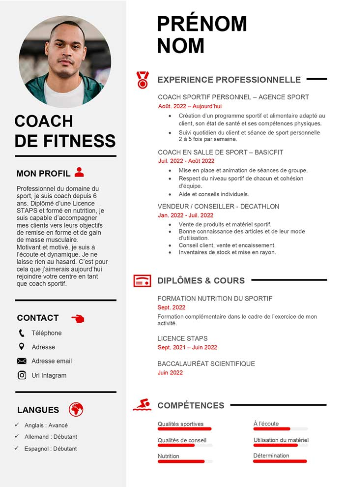 photo modele cv coach professionnel modele lettre