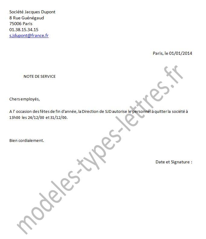 Modèle De Note De Service