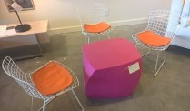 """**ITEM NOW SOLD** Knoll Bertoia vintage childrens' chairs. 24"""" h. Set/3 750.-"""
