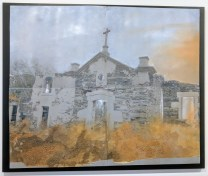 **ITEM NOW SOLD*'Abandoned Church Portugal'. Alessandra D'Agnolo. Painting on aluminum lithography plates. Mounted on board.2500.-