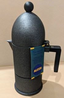 "**ITEM NOW SOLD** Alessi ""La Cupola"" espresso coffee maker (stove top). Never used, original box included. Aluminum casting exterior is discontinued finish. Orig. List: $160. Modele's Price: 75.-"