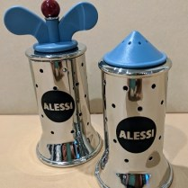 **ITEM NOW SOLD** Alessi: Michael Graves-designed salt and pepper set. 20 years old, very light use. Current List: $215. set Modele's Price: 95.- set