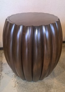 "**ITEM NOW SOLD** Hwang Bishop wood side table with sensuous fluted detail. 18.5"" dia. x 19""h. Orig. List: $2,700. Modele's Price: 750.-"