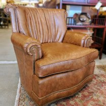 **ITEM NOW SOLD** Pair Britt Carter and Co. Chairs. (Signature Collection)Leather Upholstery. Purchased in 2006. Original List: $4876.- Pair.Modele's Price: 1750.- Pair.