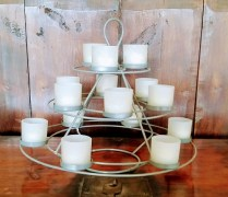 Metal Candle Pyramid. Includes Candles. Original List: 135.- Modele's Price: 60.-