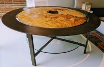 **ITEM NOW SOLD**Rom Lee Designs Custom 'Cart Wheel' Coffee Table. Antique Cart Wheel (Molave wood) from Philippines. Cor-ten steel and glass. Original List: $2300.- Modele's Price: 1250.-