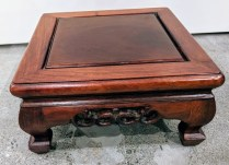 "**ITEM NOW SOLD** Chinese carved wood low pedestal. 12"" sq. x 6""h. 95.-"