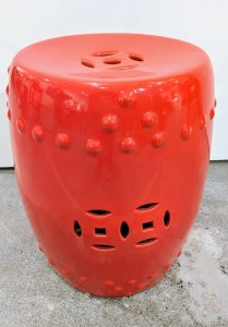 "**ITEM NOW SOLD** Ceramic garden stool, purchased from Seattle Art Museum gift store 5 years ago. 13.5""d. x 15.75""h. Orig. List: $160. Modele's Price: 75.-"