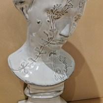 """Charming garden girl ceramic bust. 14.5""""h 275.-"""