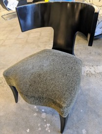 "**ITEM NOW SOLD** Donghia 'Klismos' chair. 15 years old, very light use. Mohair upholstery. 25.25"" w x 26""d x 30.5""h. Orig. List: $2,600. Modele's Price: 1150.-"