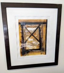 "**ITEM NOW SOLD** Framed decorative art. 29.75""w x 34.75""h. 95.-"