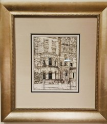 **ITEM NOW SOLD**Framed pen and ink drawing with watercolor. '24c Clifton Rd. Maida Vale, London'. Signed B.Clarke. Custom Framing Cost $350.- Modele's Price: 195.-