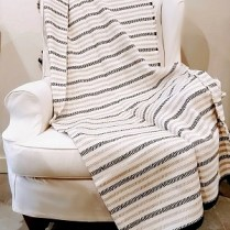 Black and Grey Strip Fussenegger Throw.
