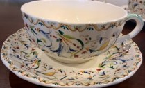 "Set/4: Gien Breakfast cup/saucer. 10 oz. cup, 7"" dia. saucer (3 sets available). Current List: $264. set. Modele's Price: 135. set"
