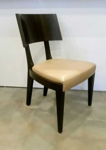 Gulassa & Co. Straight Leg Dining Chair. Design by David Gulassa. Dark stained walnut and leather solid veneer. 2 available. Original List: $3100.- each. Modele's Price: 495.- each.